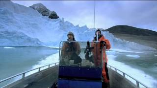 Steve Leonard and Arctic expert Jason Roberts looking for Polar bears . Glacier calving too close for comfort From the programme Incredible Journeys BBC. Director - Martin Hughes Games Photography - S