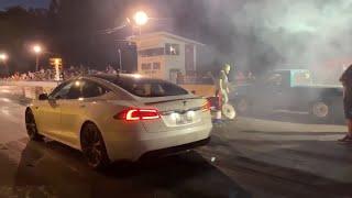 Ludicrous Tesla Raven Takes on Nitrous Cars NO PREP RACING