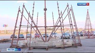 В Омске началась установка первой новогодней ёлки