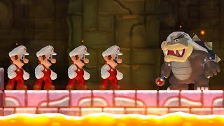 New Super Mario Bros Wii - All Bosses with Multiple Marios