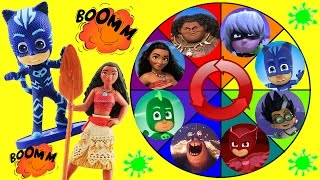 Moana & PJ Masks Spin the Wheel Game w Disney Princess Moana, Maui, Owlette & Catboy Dolls!