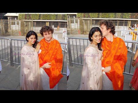 Tollywood actress Shriya Saran visits Tirumala temple along with her husband