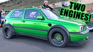 This VW Golf Makes 1600 HORSEPOWER!  (Twin Engine & Twin Turbo!)