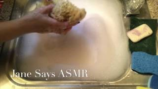 ASMR: Wringing Out Washcloth & Sponges in Sudsy Water; 🎧🎧🎧